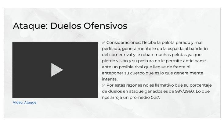Presentación visual sobre la explicación que acompaña a las estadísticas en un análisis del rival.
