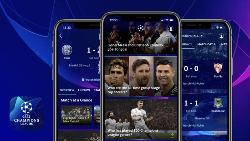 Pantallas de la app oficial UEFA Champions League.