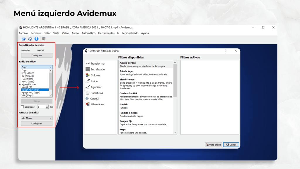 Menú izquierdo de Avidemux. Un software gratuito para editar videos de manera sencilla.